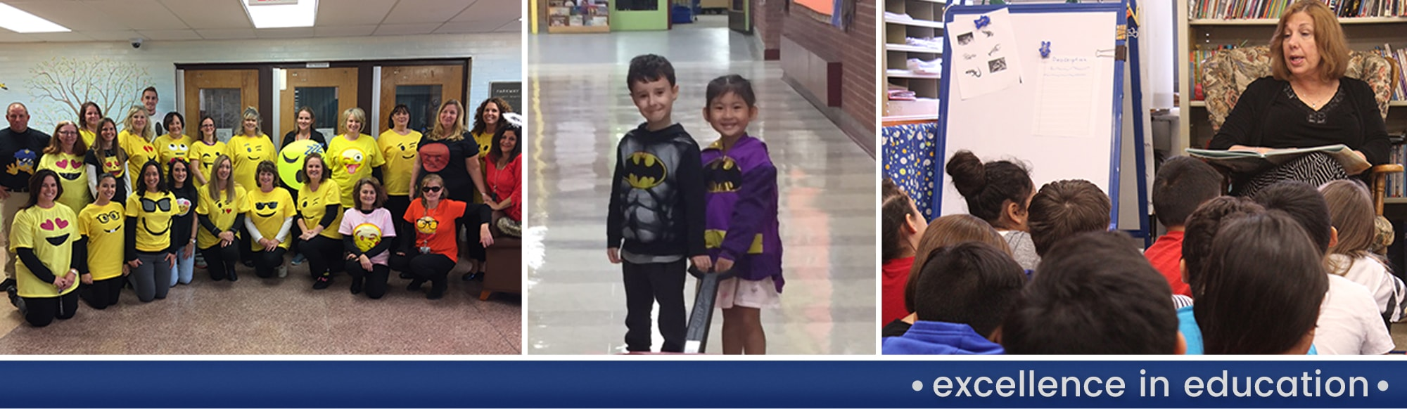 Teachers wearing emoji shirts pose together, two students wearing Batman attire pose together and a teacher reads to students in a classroom