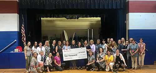 Group with giant $10,000 check