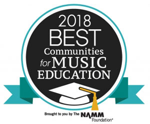 Seal for 2018 Best Communities for Music Education. Brought to you by The NAMM Foundation