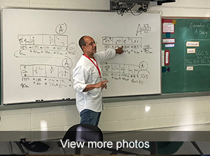 view more photos of engineer visiting with West Brook and East Brook Middle School