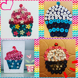 Collage of four pictures of cupcakes made out of buttons.