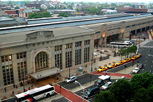 Aerial view of Penn Station