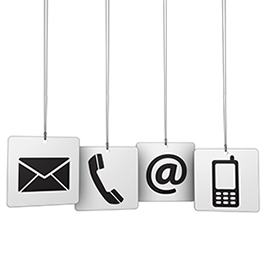 Mail, phone, at and cell icons