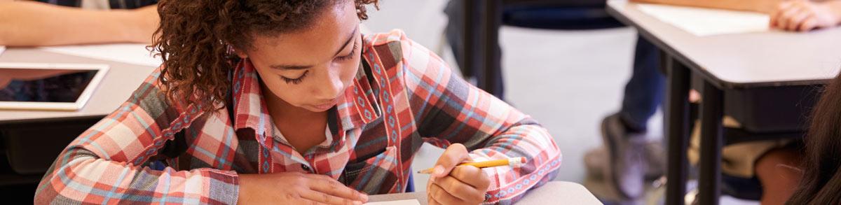 Female student doing classwork