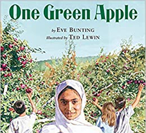 Book Cover of One Green Apple by Eve Bunting and illustrated by Ted Lewin