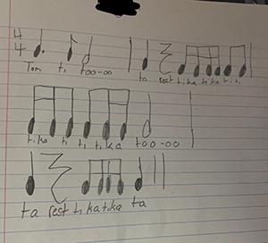 music notes and lyrics