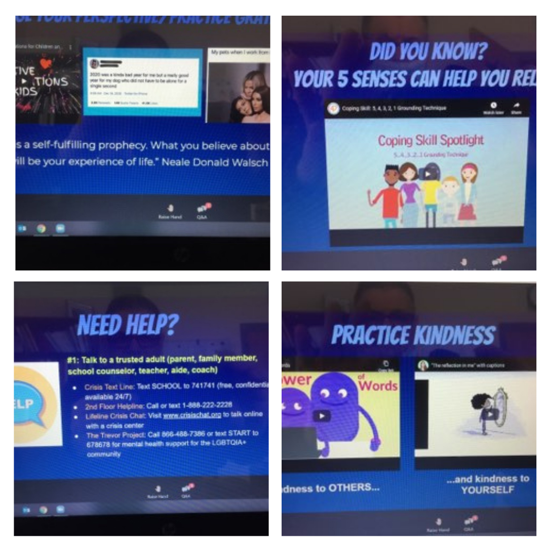 Computer screen photos of Emotional-Learning slideshow