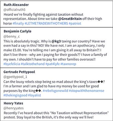 Tweets by Ruth Alexander, Benjamin Carlyle, Gertrude Pettypool, Henry Yates