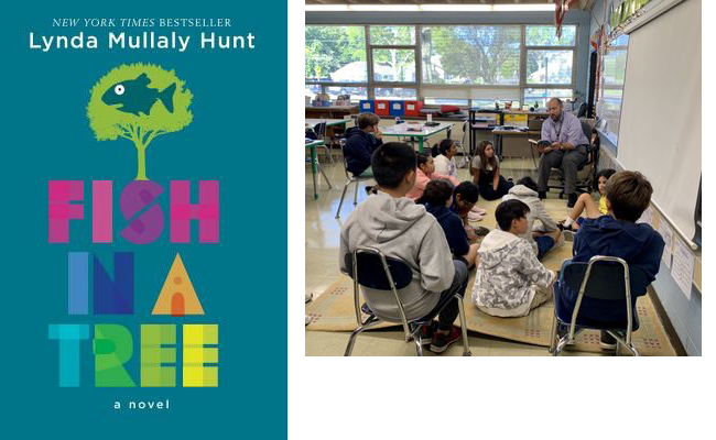 Book cover of Fish in a Tree and teacher reading to a group of students