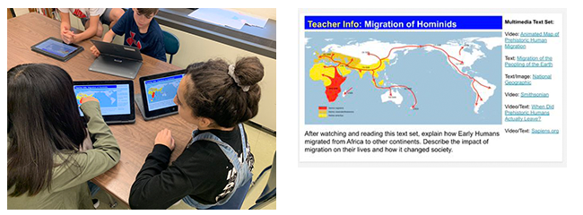 students looking at laptops, graph of the migration of hominids