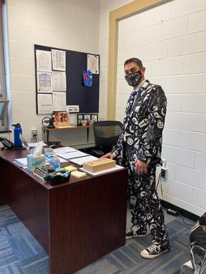 AJ Bianco standing in halloween costume