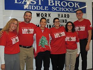 Mrs. Schels, Mr. LoBue, Mrs. Mahfouz, Mrs. Vicari, Mrs. LaMothe and Mr. Aupperlee pose together