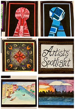 Student artwork with an Artist's Spotlight sign