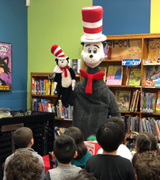 Dr. Seuss visits students in the classroom