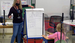 Teacher with face mask in the front of the classroom