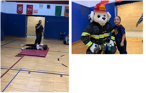 students practicing stop, drop, and roll and little girl with Sparky the fire dog