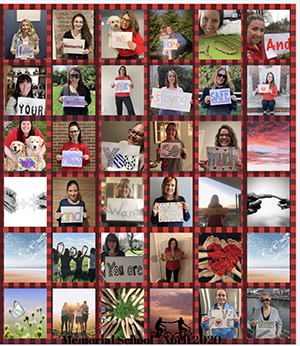 Mrs. Corizzo's message collage from teachers