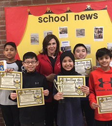 Principal O'Boyle with Spelling Bee award recipients