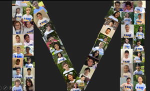Photo collage of 4th graders in the shape of the letter M