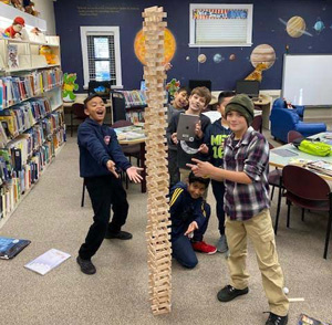 Students building towers