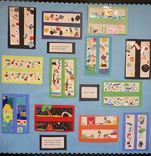 Student collage art displayed on a bulletin board