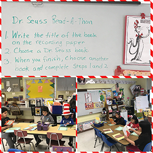 Dr. Seuss Read-A-Thon - 1. Write the title of the book on the recording paper 2. Choose a Dr. Seuss book. 3. When you finish, choose another book and complete steps 1 and 2