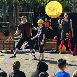 Students participate in a circus event