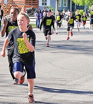 Students run outside