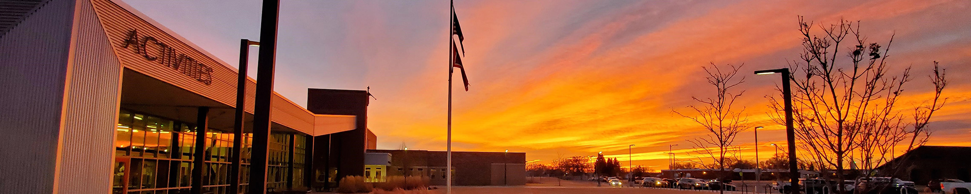 Sunset view of Powell Middle School campus