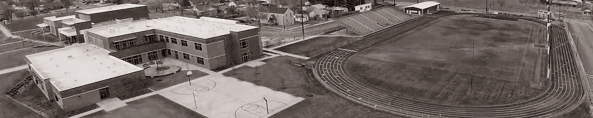 Aerial view of Powell Middle School campus