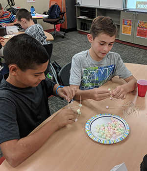 two boys building with marshmallows and toothpicks