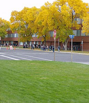 Outside view of the school campus in the fall