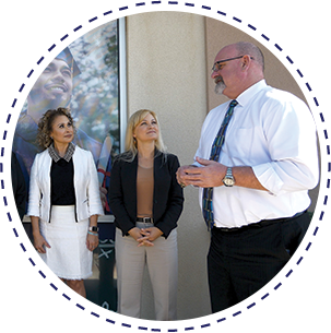 William Ambos, Principal at SCHS Maricopa Campus, Samantha Thompson, Principal at SCHS Surprise Campus and Dr. Amy Fuller Chief Officer