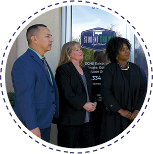 Tonya Bridges Brown, SCHS District Administrator for Student Services, Amy Freeman, Principal at SCHS Glendale and Julio Martinez Principal at SCHS Maryvale