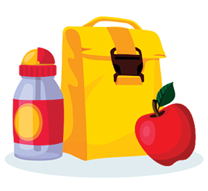 Lunchbox with water and apple