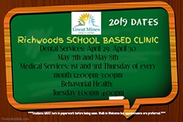 2019 Dates for Richwoods School Based Clinic
