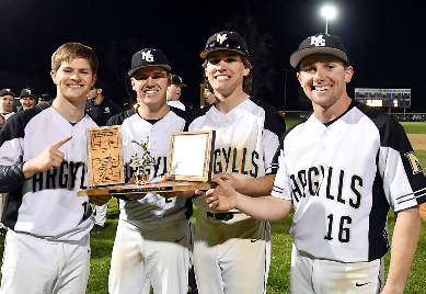 Baseball captains with trophy
