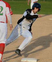 Madison-Grant's Seth Lugar rounds third base