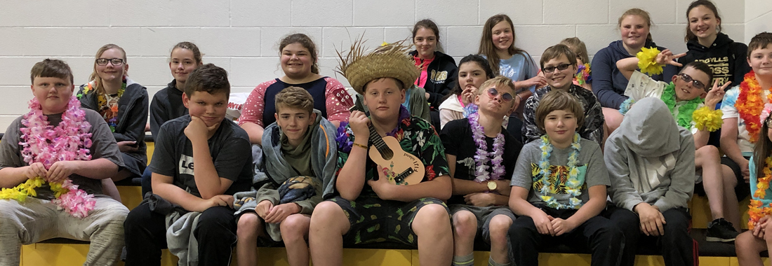 students dressed in Hawaiian attire