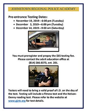 Johnstown Regional Police Academy Testing Dates Flyer