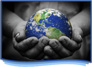 hands holding a globe