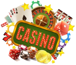 Casino graphic with cards, chips and dice