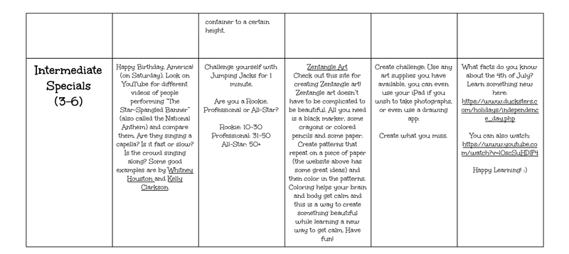 Summer Enrichment Calendar July 6 - view pdf