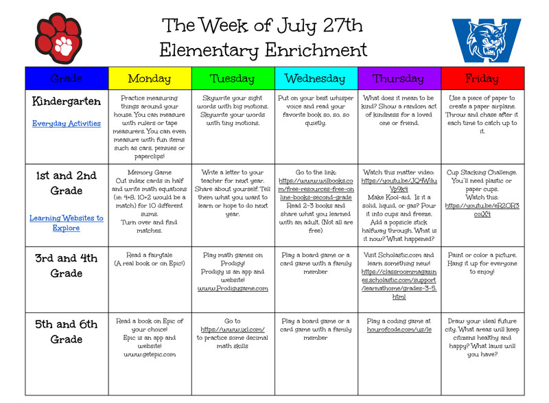 Summer Enrichment Calendar July 27 - view pdf