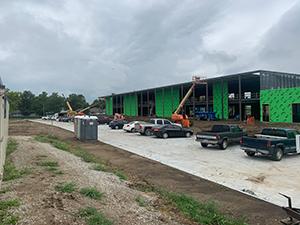 Springfield Elementary School with crane