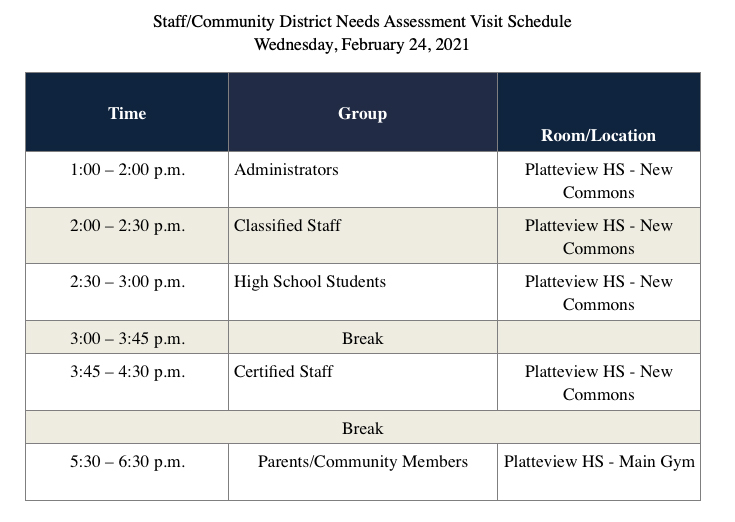 Staff/ Community District Needs Assessment Visit Schedule for Feb. 24, 2021