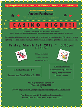 Springfield Platteview Educational Foundation Auction Fundraiser flyer