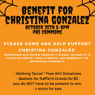 Benefit for Christina Gonzalez. October 25th 6 to 8 pm. PHC Commons