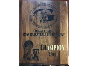 Cougar Classic Boys Basketball Tournament 2019 Champion plaque