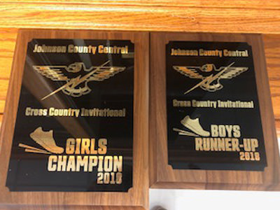 Girls Champion cross country plaque and Boys Runner-up plaque from 2018